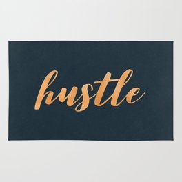 Hustle Text Copper Bronze Gold and Navy Rug
