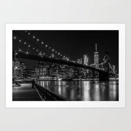 MANHATTAN SKYLINE & BROOKLYN BRIDGE Gorgeous Nightscape Art Print