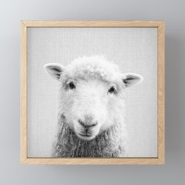 Sheep - Black & White Framed Mini Art Print