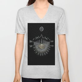 Moon and Stars Night Sky Mountain Range Arrow Mandala With Star Background Unisex V-Neck