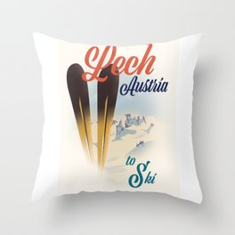 Lech Austria Ski poster Throw Pillow