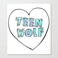 teen wolf Canvas Prints featuring TEEN WOLF by Sara Eshak