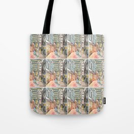 South Korean street cafe  shops illustration with girl in hanbok Tote Bag