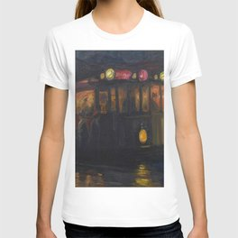 'A Street Car Named Desire' nighttime cityscape cable car portrait painting by Marius Richters  T-shirt