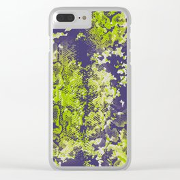 camouflage with snake texture in lime and navy Clear iPhone Case