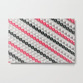 White, black and red spirals Metal Print