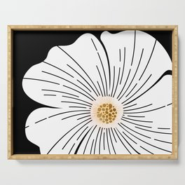 Black and White Blossom Serving Tray