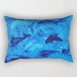 Dolphins Frolicking in the Ocean Rectangular Pillow