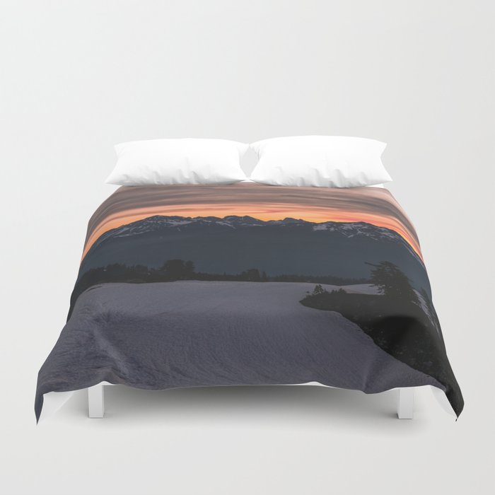 Rising Sun in the Cascades - nature photography Duvet Cover