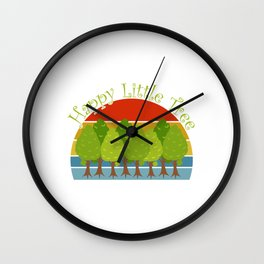 "Save Earth Environmental Shirt For Environentalists ""Happy Little Tree"" T-shirt Design Nature Wall Clock"