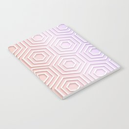3D Hexagon Gradient Minimal Minimalist Geometric Pastel Soft Graphic Rose Gold Pink Notebook
