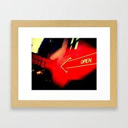 OPEN. Framed Art Print