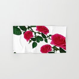 DIAGONAL ART DESIGN CLIMBING PINK ROSES  ON WHITE Hand & Bath Towel