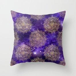 Gold Dharma Mandala Pattern Throw Pillow