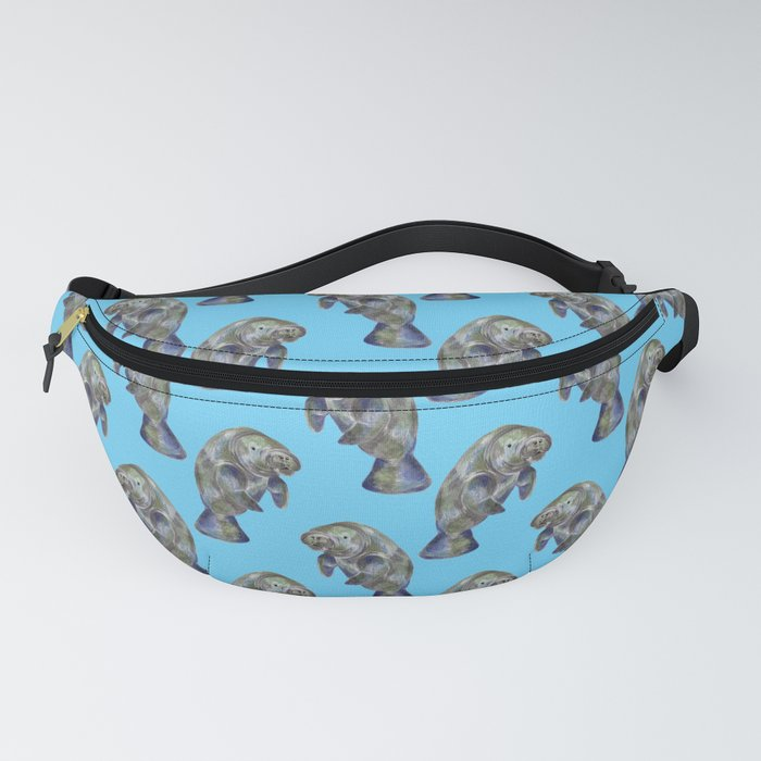 Blue Watercolor Manatee Pattern Fanny Pack