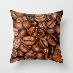 Shiny brown coffee beans Throw Pillow