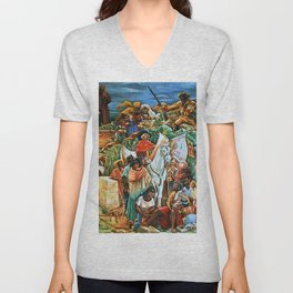 African American Masterpiece Golden State Mural, Exploration and Colonization by Charles Alston Unisex V-Neck