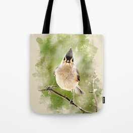 Watercolor Tufted Titmouse Art Tote Bag