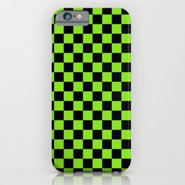 Halloween Green and Black Checkerboard Pattern SM iPhone Case