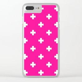 Swiss cross pattern on deep pink Clear iPhone Case