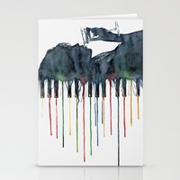 piano Stationery Cards featuring Piano by Veronika Neto