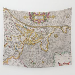 Vintage Map of Holland (1606) Wall Tapestry