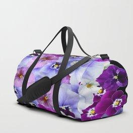 PURPLE-WHITE-PINK PANSY FLOWERS & BLACK Art Duffle Bag