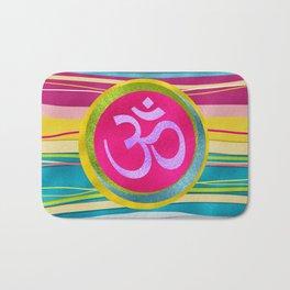 Colorfull Glitter OM symbol on  Pattern Bath Mat