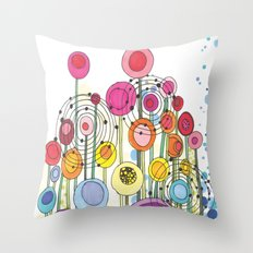 Lollipop Flowers Throw Pillow
