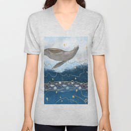 Flying Seal - Rising Waters Surreal Climate Change  Unisex V-Neck