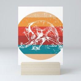 Vintage Anteater Lover Retro Style Silhouette Gift Mini Art Print