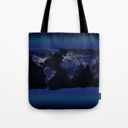Earth at Night with the lights of most populated cities Tote Bag
