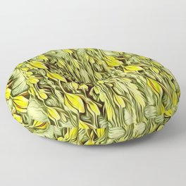 flower paradise moon shining in the floral jungle painting Floor Pillow