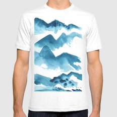 Mountain blue MEDIUM White Mens Fitted Tee