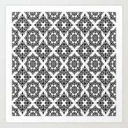 Black and White Damask 2 Art Print
