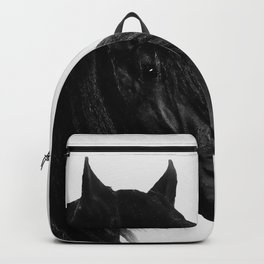 Black beauty Friesian stallion Backpack