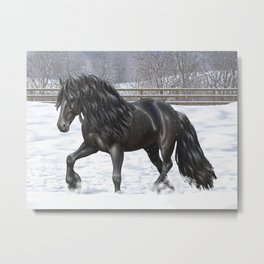 Friesian Horse Trotting In Snow Metal Print