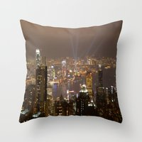 hong kong Throw Pillows featuring Hong Kong by Annie Lynch
