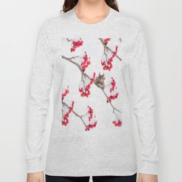 Cute Squirrel With Red Rowan Berries On A White Background #decor #society6 #buyart Long Sleeve T-shirt