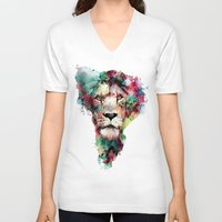king V-neck T-shirts featuring THE KING by RIZA PEKER