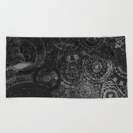 Distressed Ink Multi Mandala Graphic Design Beach Towel