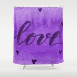 Valentine's Day Watercolor Love – purple Shower Curtain