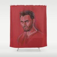 derek hale Shower Curtains featuring Derek in Red by Stormwolf Studios