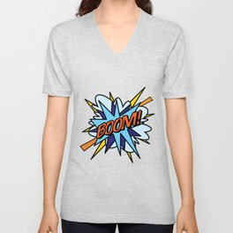 BOOM Comic Book Flash Pop Art Cool Fun Graphic Typography Unisex V-Neck