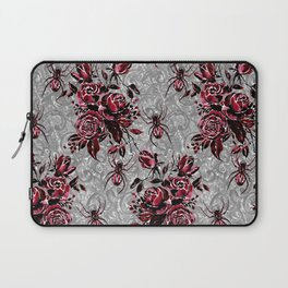 Vintage Roses and Spiders on Lace Halloweeen Watercolor Laptop Sleeve