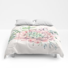 Perfect Pink Succulent Comforters