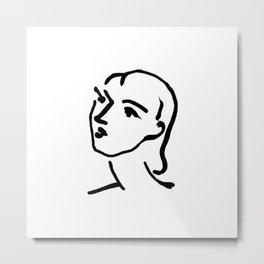 Matisse Line art Portrait Metal Print