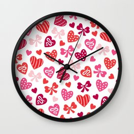 Valentine Hearts and Red Bows Wall Clock