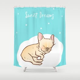 Frenchie Sweet Dreams Shower Curtain