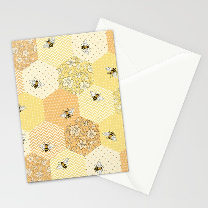 Patchwork Bees Pattern Stationery Cards